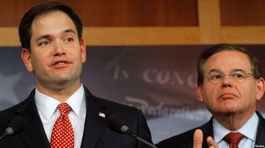 مارکو روبیو سناتور جمهوریخواه فلوریدا و باب منندز سناتور دموکرات نیوجرسی